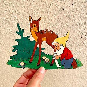 Laubsägearbeit ALT 1960er Graupner Graubele Wald-Doktor-Zwerg 12x18cm Reh Tanne