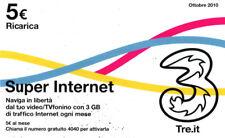 *3233 SCHEDA RICARICA USATA 3 TRE SUPER INTERNET 25 11 - 2013 OCR 20 CAB 23