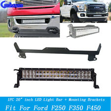 "20"" High Power LED Light Bar w/ Hidden Mount Bracket For Ford F250 F350 F450"