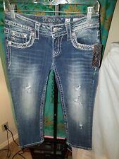 NWT Miss Me Signature Cuffed Capri Embellished Denim Jeans Womens Sz 25