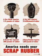 Guerra de propaganda campaña de goma de la Segunda Guerra Mundial USA chatarra máscara de gas impresión de arte poster BB9347