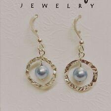 Blue Swarovski Pearl W/Hammered Ring Sterling Silver Hook Drop Earrings