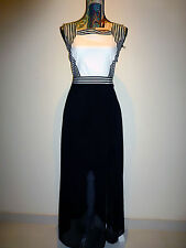 BNWOT BLACK & WHITE SLEEVELESS CHIFFON MAXI DRESS WITH SLIT SIZE S