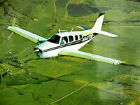 Vintage Beechcraft Bonanza A36 Airplane Lithograph Aviation Art Print 16 x 20