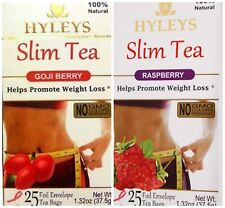 Hyleys 100% Natural Slim Tea 2 Pack Goji and Raspberry Flavor (25 Teabags each)