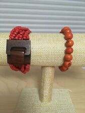 With Orange And Red Tones. Beaded Bracelet And Charm Lot