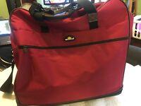 Brighton Red Expandable Rolling Wheeled Suitcase DuffleBag