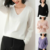 Womens V-Neck Cashmere Sweater Ladies Knitted Pullover Winter Casual Warm Jumper
