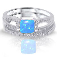 Princess Cut Blue Fire Opal Engagement / Wedding Sterling Silver Two Ring Set