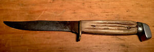 VINTAGE BONE STAG HUNTING KNIFE FIXED BLADE BIRD TROUT BRASS PEWTER
