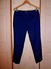 Dalia Woman's 10 Navy Blue Cotton Blend Chino Ankle Pants Cuffs Casual