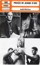 FICHE CINEMA : PROCES DE JEANNE D'ARC (mod.B) Delay,Fourneau,Bresson 1962
