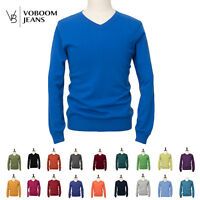 New VOBOOM Mens Casual Slim Fit V-Neck 100%Wool Cardigan Pullover Sweater Tops