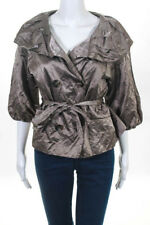 BCBG Max Azria  Taupe Button Down Belted Large Collar Lined Jacket Size Small