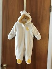Little Wonders Pram Snowsuit w/ hide-away mittens - White - Size 3/6 mo. NWT $30