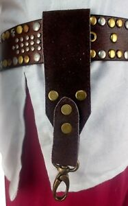 LARP Leather Tankard Strap Universal Belt Clip Hangs in Black and Brown