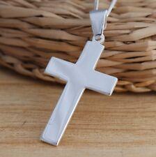 925 Sterling Silver Large Plain Cross Crucifix Pendant 36mm x 23mm Chain Pendant