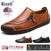 Men's Oxfords Leather Casual Shoes Breathable Antiskid Loafers Slip on Moccasins