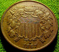 1867 Two Cent Piece 2c ~BETTER DATE~ HIGHER GRADE COlN w/ SOLID DETAILS ~ 62AJ