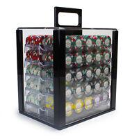 NEW 1000 Monaco Club 13.5 Gram Poker Chips Set w Acrylic Carrier Case Pick Chips