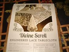 "Benson Mills Divine Scroll Scalloped Border Lace Tablecloth 60"" x 84"" GOLD"
