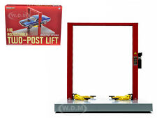 TWO POST LIFT RED / YELLOW FOR 1/18 SCALE RAISES & LOWERS BY GREENLIGHT 12916