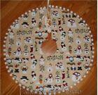 "SNOWMAN SCENES, Country, Handmade Christmas Tree Skirt, 26"" dia,"