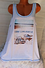 SECRET TREASURES (3X) Stretch Lounge Top White Tank KEEP LIFE SIMPLE Relaxation