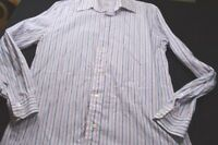 Faconnable Pink Blue White Stripe 16 1/2 Large Long Sleeve Button Men's Shirt