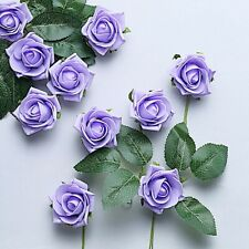 "24 Lavender 2"" Mini Foam Rose Flowers Stems Wedding Events Decorations Supplies"