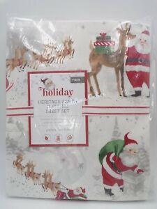 Pottery Barn Kids Flannel Heritage Santa Organic Sheet Set Twin Red Multi #H199