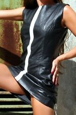 SW52 Lamm Nappa Leder Lederkleid Minikleid Dress Schwarz / Weiss S Erogance