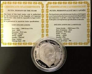 Cameroon Silver Coin 500 Francs 2015 Putin Man Of The Year+Certificate