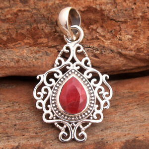 Faceted Pear Kashmir Ruby Gemstone 925 sterling Silver Jewelry Solid Pendant