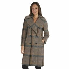 Kendall + Kylie Plaid Double-Breasted Coat, Women's Size Medium (M), Brown