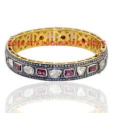 Polki Tourmaline Bracelet Brand New Style Antique Rose Cut Diamond 5.38ct Silver