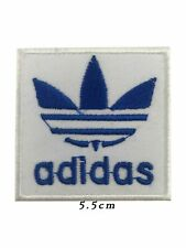 ADIDAS SPORTS LOGO IRON on SEW ON PATCH Embroidered adidas white & blue A561