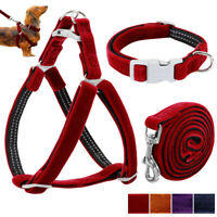 Soft Velvet Step In Dog Harness & Collar & Lead Set for Small Medium Large Dogs