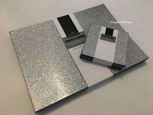 Luxury Silver Glitter Sparkle 4 Placemats & 4 Coasters Grey Table Place Settings