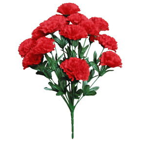 """Red 14-Carnation 20"""" Bush Silk Flower Home Holiday Wedding Décor In/Outdoor US"""