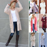 Women's Soft Popcorn Knit Cardigan Sweater Thick Winter Chunky Loose Boho Pocket
