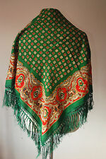 """vintage PAISLEY FLORAL FOLK wool scarf with tassels 29"""""""