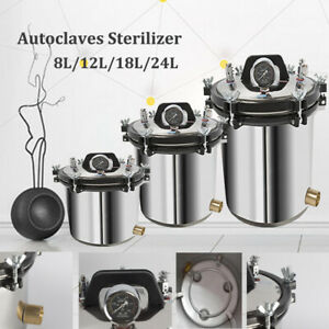 8/12/18/24L Autoclaves Sterilizer Dental Medical Lab Equipment Stainless Steel