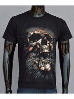 New Mens 3D Print Funny Skull Men T Shirt Short sleeve Tee Round Top Halloween