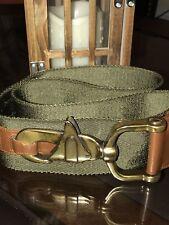 Ralph Lauren Expedition Nylon & Leather Web BELT Sz SMALL Oversize Olive Green