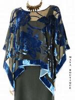 Silk Burnout Velvet Poncho Kimono Top Sapphire & Black No Fringe Maya Matazaro