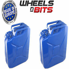 2 x NEW HIGH QUALITY METAL POWER COATED INSIDE AN OUT BLUE JERRY CAN 20L LITRE