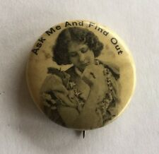 Vintage ASK ME AND FIND OUT Celluloid Pinback Pin