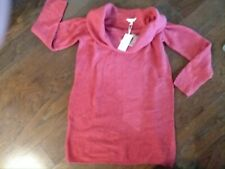 NWT Juniors Candie's Burnt Orange Fold Over Collar Sweater Tunic Top Size Large
