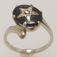 18K WHITE GOLD GENUINE BLACK ONYX OVAL MASONIC EASTERN STAR RING SIZE 4